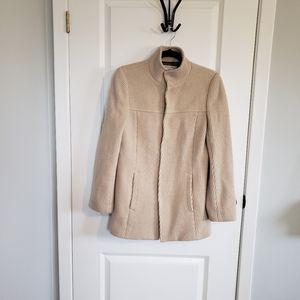 B + AB Beige Ribbed Virgin Wool Coat